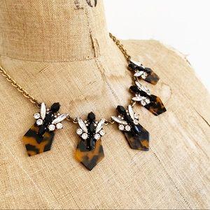 J CREW tortoiseshell crystal statement necklace.